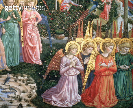 <b>Title</b> : Angels in a heavenly landscape, the left hand wall of the apse, from the Journey of the Magi cycle in the chapel, c.1460 (fresco<br><b>Medium</b> : <br><b>Location</b> : Palazzo Medici-Riccardi, Florence, Italy<br> - gettyimageskorea