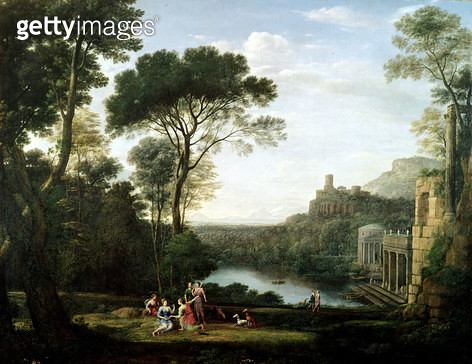 <b>Title</b> : Landscape with the Nymph Egeria (oil on panel)<br><b>Medium</b> : oil on panel<br><b>Location</b> : Museo e Gallerie Nazionali di Capodimonte, Naples, Italy<br> - gettyimageskorea