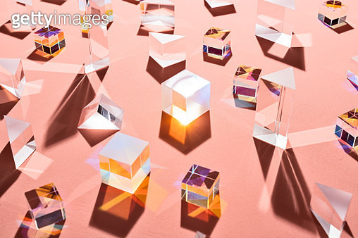 A Variety of Prisms on Pale Pink - gettyimageskorea