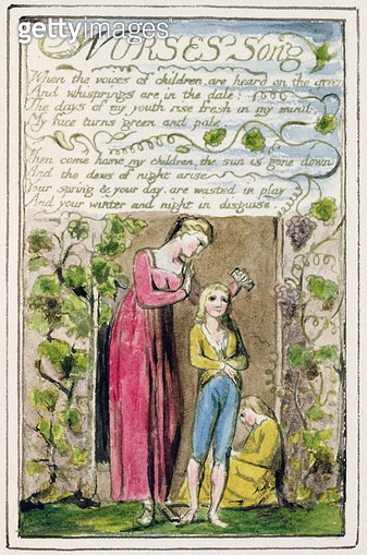 P.124-1950.pt39 Nurse's Song: plate 39 from 'Songs of Innocence and of Experience' (copy R) c.1802-08 (etching/ ink and w/c) - gettyimageskorea