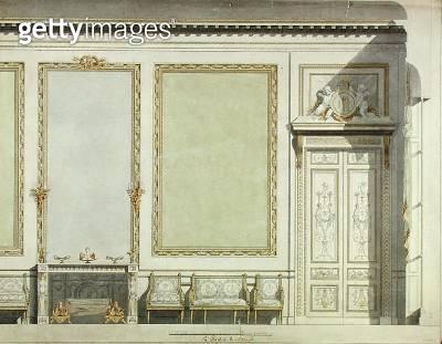<b>Title</b> : Design for the Duchess of Mazarin's House, c.1777 (w/c on paper)Additional InfoLouise-Jeanne de Durfort, Duchesse de Mazarin (17<br><b>Medium</b> : watercolour on paper<br><b>Location</b> : Private Collection<br> - gettyimageskorea