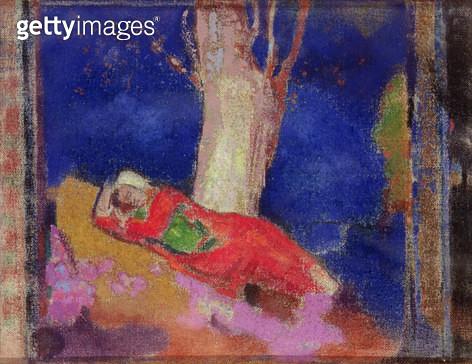 <b>Title</b> : Woman Sleeping under a Tree, 1900-01 (tempera on canvas)<br><b>Medium</b> : <br><b>Location</b> : Hermitage, St. Petersburg, Russia<br> - gettyimageskorea