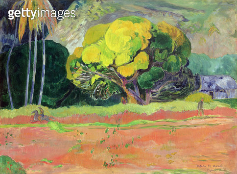 <b>Title</b> : Fatata te Moua (At the Foot of the Mountain), 1892 (oil on canvas)<br><b>Medium</b> : <br><b>Location</b> : Hermitage, St. Petersburg, Russia<br> - gettyimageskorea