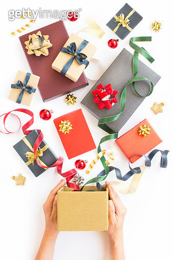 Christmas Day gift boxes still life. - gettyimageskorea