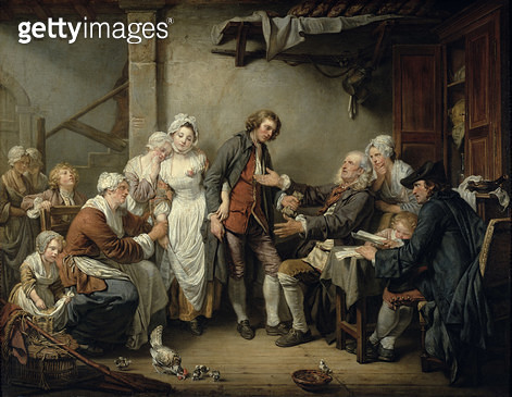 <b>Title</b> : The Village Agreement, 1761 (oil on canvas)<br><b>Medium</b> : oil on canvas<br><b>Location</b> : Louvre, Paris, France<br> - gettyimageskorea