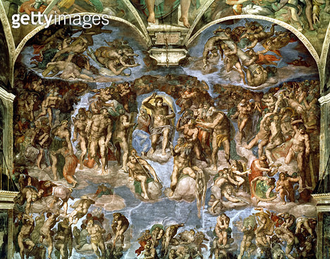 <b>Title</b> : Sistine Chapel: The Last Judgement, 1538-41 (fresco) (pre-restoration)<br><b>Medium</b> : fresco<br><b>Location</b> : Vatican Museums and Galleries, Vatican City, Italy<br> - gettyimageskorea
