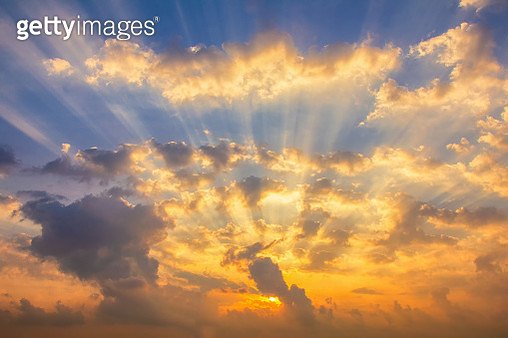 Colorful clouds on the dramatic sunset sky - gettyimageskorea