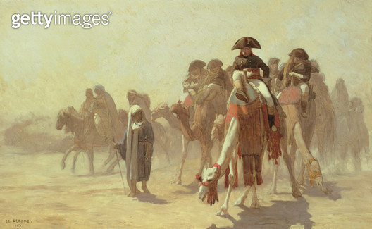 <b>Title</b> : General Bonaparte (1769-1821) with his Military Staff in Egypt, 1863 (pencil and oil on canvas)<br><b>Medium</b> : <br><b>Location</b> : Hermitage, St. Petersburg, Russia<br> - gettyimageskorea