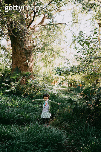 Adorable mixed race little girl walking through forest with arms outstretched, Tokyo - gettyimageskorea