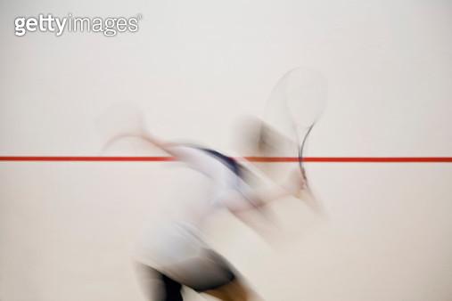 A man playing squash, blurred motion,  Melbourne, Victoria, Australia - gettyimageskorea