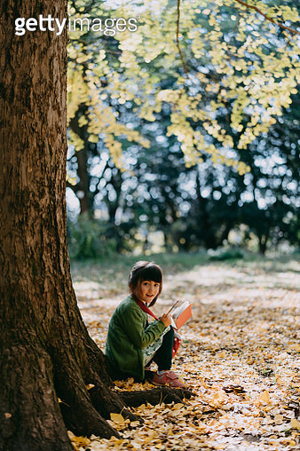 Adorable 4 year old girl sitting under ginkgo tree with book in autumn - gettyimageskorea