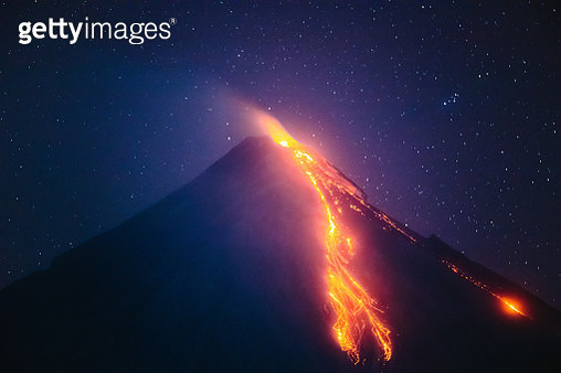 Mayon volcano eruption at night, Philippines - gettyimageskorea