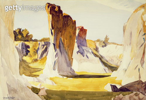 <b>Title</b> : Lime Rock Quarry II, c.1926 (w/c on paper)<br><b>Medium</b> : watercolour on paper<br><b>Location</b> : Private Collection<br> - gettyimageskorea
