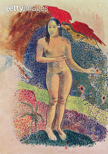 <b>Title</b> : Female Tahitian nude (w/c on paper)<br><b>Medium</b> : <br><b>Location</b> : Musee des Beaux-Arts, Orleans, France<br> - gettyimageskorea