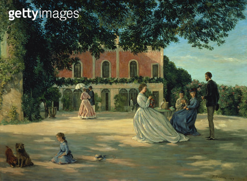 <b>Title</b> : Family Reunion on the Terrace at Meric, 1867<br><b>Medium</b> : oil on canvas<br><b>Location</b> : Petit Palais, Geneva, Switzerland<br> - gettyimageskorea