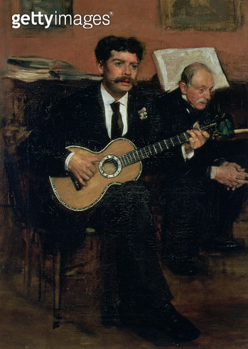 <b>Title</b> : Portrait of Lorenzo Pagans (1838-83), Spanish tenor, and Auguste Degas (1807-74), the artist's father, c.1871-72<br><b>Medium</b> : oil on canvas<br><b>Location</b> : Musee d'Orsay, Paris, France<br> - gettyimageskorea