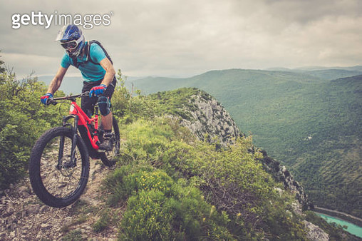 Enduro All Mountain E bike rider - adrenaline MTB trail - gettyimageskorea