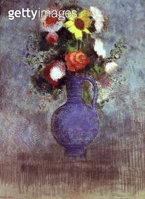 <b>Title</b> : Still life of flowers in a blue vase (pastel)<br><b>Medium</b> : pastel on paper<br><b>Location</b> : Private Collection<br> - gettyimageskorea