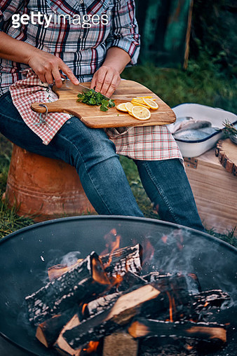 Having Picnic and Cooking Over Open Campfire - gettyimageskorea