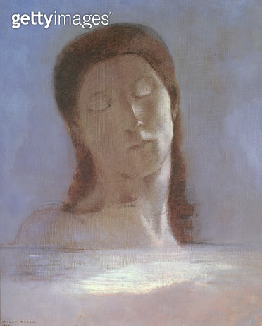 <b>Title</b> : The Closed Eyes, 1890 (oil on paper)<br><b>Medium</b> : oil on paper<br><b>Location</b> : Musee d'Orsay, Paris, France<br> - gettyimageskorea