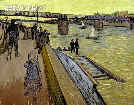 <b>Title</b> : Le Pont de Trinquetaille in Arles, 1888 (oil on canvas)Additional InfoAkram Ojjeh Collection;<br><b>Medium</b> : oil on canvas<br><b>Location</b> : Private Collection<br> - gettyimageskorea