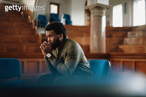 One man sits and thinks - gettyimageskorea