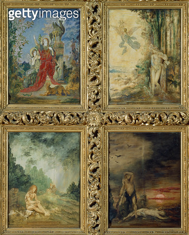 <b>Title</b> : Humanity: from TtoB, two scenes depicting The Silver Age represented by Orpheus; two scenes depicting The Iron Age represented b<br><b>Medium</b> : <br><b>Location</b> : Musee Gustave Moreau, Paris, France<br> - gettyimageskorea