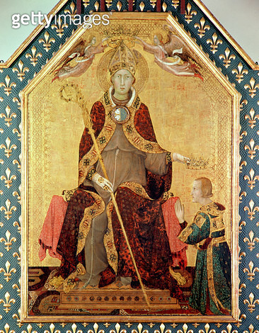 <b>Title</b> : St. Louis of Toulouse (1274-97) crowning his brother, Robert of Anjou (1278-1343) from the Altar of St. Louis of Toulouse, 1317 (tempera on panel)<br><b>Medium</b> : tempera on panel<br><b>Location</b> : Museo e Gallerie Nazionale di Capodi - gettyimageskorea