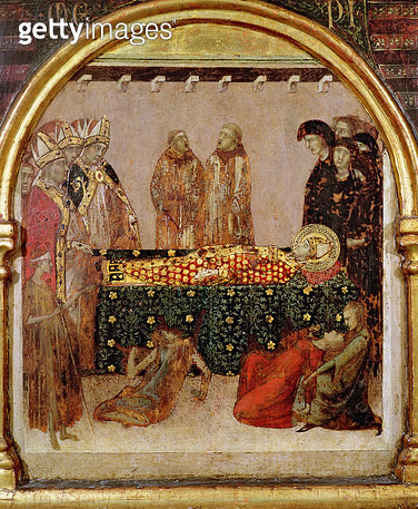 <b>Title</b> : Curing the sick on the day of the death of St. Louis of Toulouse (1274-97) predella panel from the Altar of St. Louis of Toulouse, 1317 (tempera on panel)<br><b>Medium</b> : tempera on panel<br><b>Location</b> : Museo e Gallerie Nazionale d - gettyimageskorea