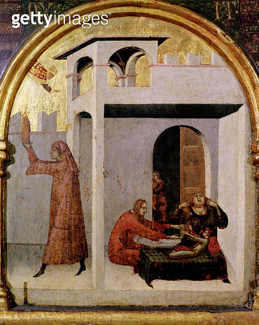 <b>Title</b> : St. Louis of Toulouse (1274-97) appearing at the bedside of a sick child, predella panel from the Altar of St. Louis of Toulouse, 1317 (tempera on panel)<br><b>Medium</b> : tempera on panel<br><b>Location</b> : Museo e Gallerie Nazionale di - gettyimageskorea