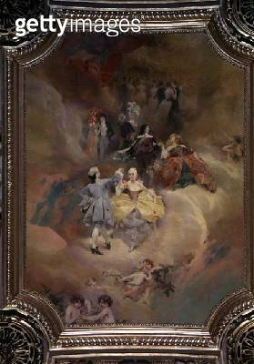 <b>Title</b> : Dance through the Ages from the ceiling of the ballroom (mural)<br><b>Medium</b> : <br><b>Location</b> : Hotel de Ville, Paris, France<br> - gettyimageskorea