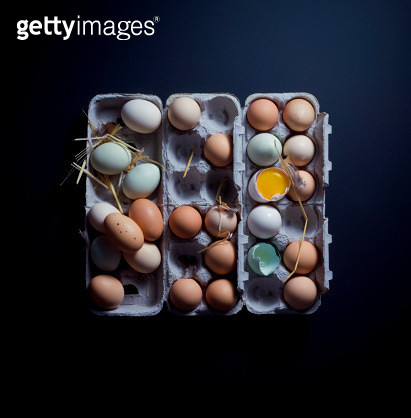 Still Life of Multi-Colored Eggs in Carton - gettyimageskorea