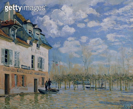 <b>Title</b> : The Boat in the Flood, Port-Marly, 1876 (oil on canvas)<br><b>Medium</b> : oil on canvas<br><b>Location</b> : Musee d'Orsay, Paris, France<br> - gettyimageskorea