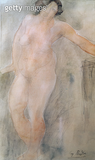 <b>Title</b> : Study of a Female Nude (pencil & w/c on paper)<br><b>Medium</b> : <br><b>Location</b> : Musee Rodin, Paris, France<br> - gettyimageskorea