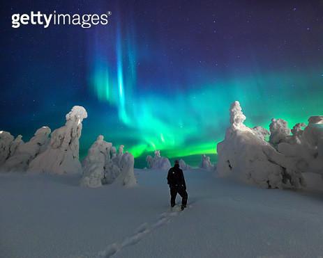 Aurora Borealis / Northern Lights, Iso-Syöte Finland - gettyimageskorea