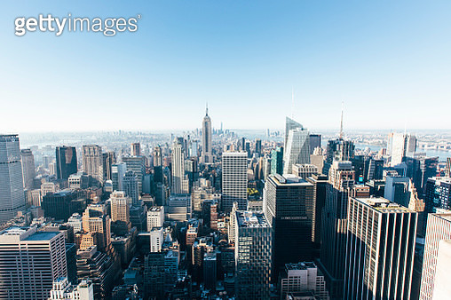 Helicopter aerial view of New York City skyline, NY, United States - gettyimageskorea