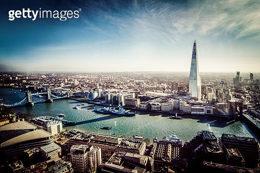 Aerial View of London with Shard and River Thames - gettyimageskorea