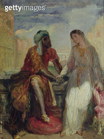 <b>Title</b> : Othello and Desdemona in Venice, 1850 (oil on panel)<br><b>Medium</b> : oil on panel<br><b>Location</b> : Louvre, Paris, France<br> - gettyimageskorea