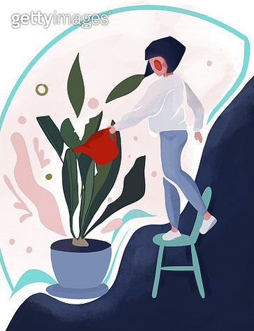 Plants growing in pots. Watering a home garden. Beautiful girl caring for plants. Illustration of house plants and flowers in pots - gettyimageskorea