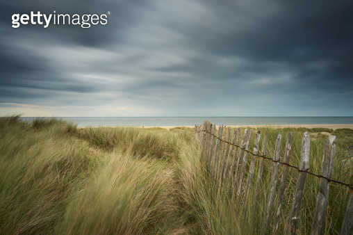 Dune fence on the beach of Winterton on Sea - Norfolk - gettyimageskorea