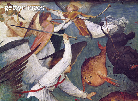<b>Title</b> : The Fall of the Rebel Angels, detail of angels fighting and playing music (oil on panel)<br><b>Medium</b> : oil on panel<br><b>Location</b> : Musees Royaux des Beaux-Arts de Belgique, Brussels, Belgium<br> - gettyimageskorea
