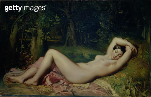 <b>Title</b> : Sleeping Nymph, 1850 (oil on canvas)<br><b>Medium</b> : <br><b>Location</b> : Musee Calvet, Avignon, France<br> - gettyimageskorea