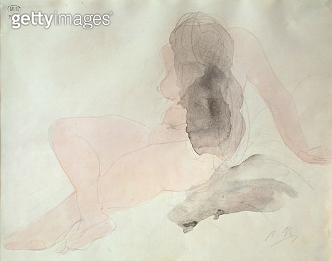 <b>Title</b> : Seated Nude with Dishevelled Hair (w/c on paper)Additional InfoFemme Nue Assise aux Cheveux Epars;<br><b>Medium</b> : watercolour on paper<br><b>Location</b> : Musee Rodin, Paris, France<br> - gettyimageskorea