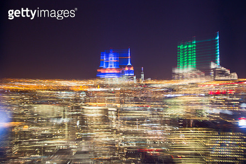 Glitch cityscape bright light at night in New York - gettyimageskorea