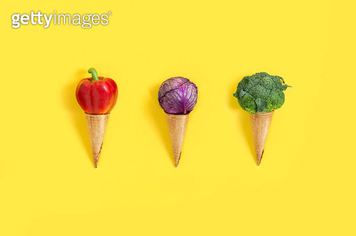 Vegetables looking like ice cream ball on waffle cone. - gettyimageskorea