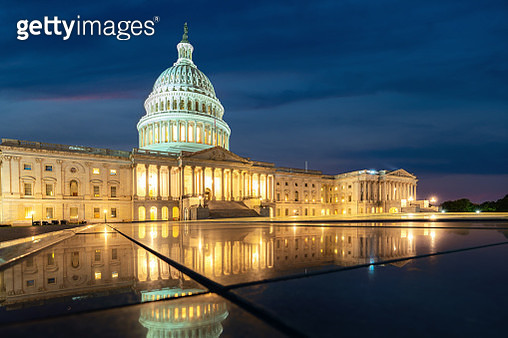 United States Capitol, Government in Washington, D.C., United States of America. Illuminated at night - gettyimageskorea