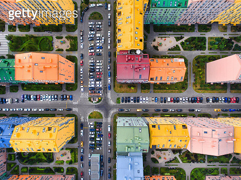 Rainbow houses aerial view - gettyimageskorea