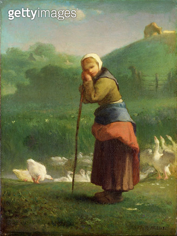 <b>Title</b> : The Goose Girl at Gruchy, 1854-56 (oil on canvas)<br><b>Medium</b> : oil on canvas<br><b>Location</b> : National Museum and Gallery of Wales, Cardiff<br> - gettyimageskorea