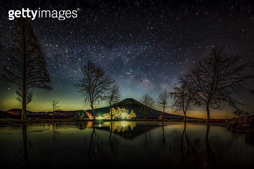 Fuji Mountain Reflection with Milky Way at Fumotoppara Campground - gettyimageskorea