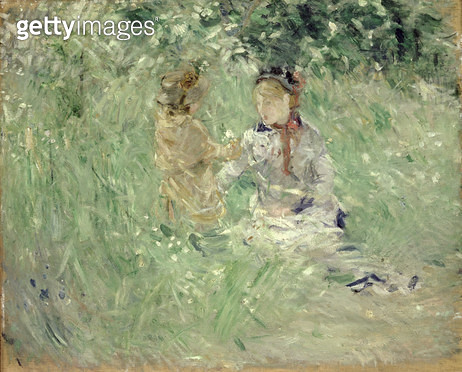 <b>Title</b> : Woman and Child in a Meadow at Bougival, 1882 (oil on canvas)<br><b>Medium</b> : oil on canvas<br><b>Location</b> : National Museum and Gallery of Wales, Cardiff<br> - gettyimageskorea